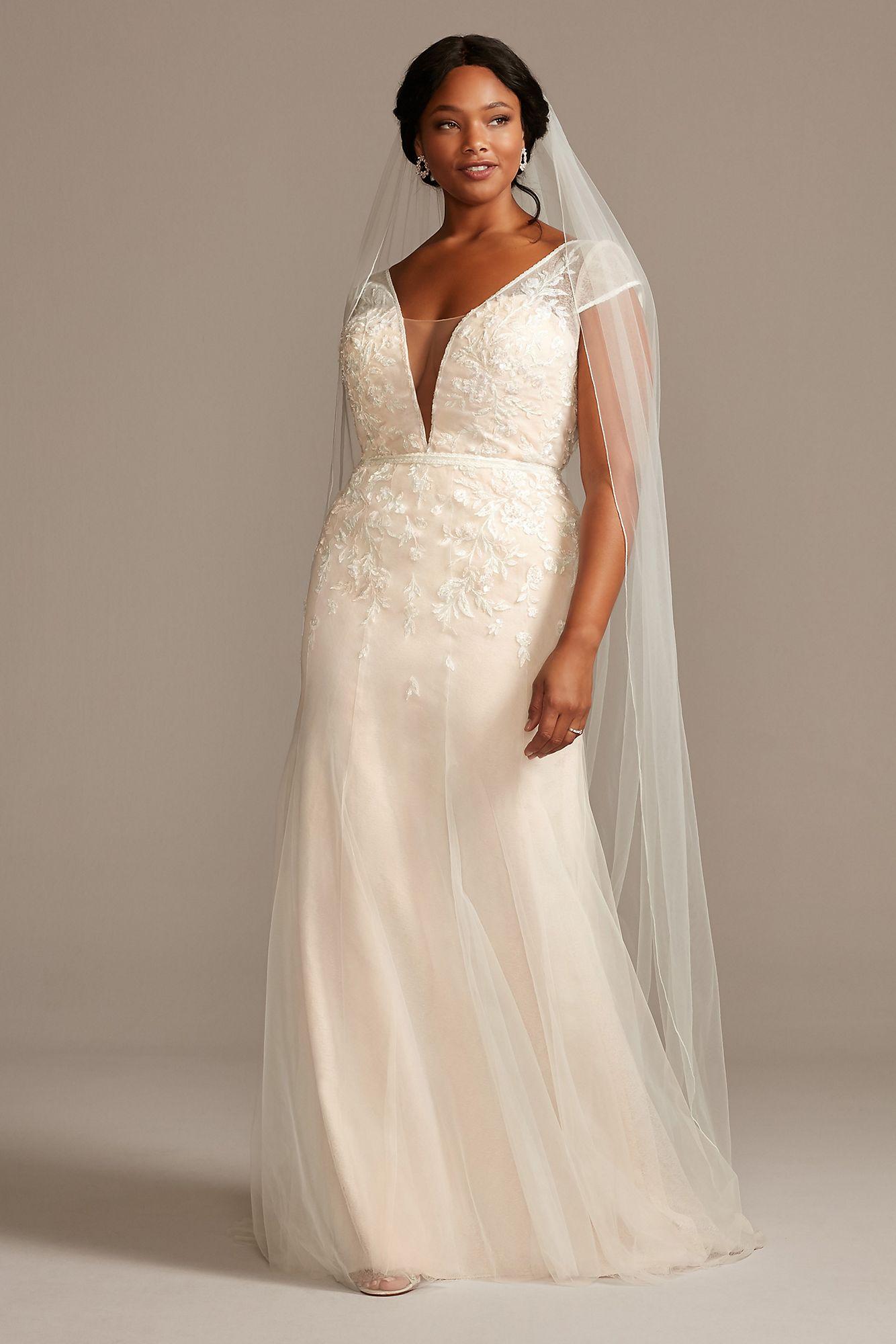 Floral Applique Cap Sleeve Plus Size Wedding Dress Melissa Sweet ...